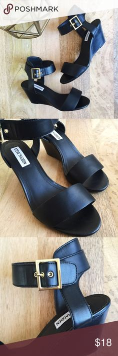 "Ankle strap wedges Steve Madden | Black leather ankle strap sandals feature gold tone buckles and stacked woodgrain heel. Comfortable and classic wedges in excellent, like new condition.   Size: 7  Heel height: 3"" Steve Madden Shoes Wedges"