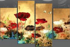 "Extra Large 60"" Multi Field Poppies Flowers Floral 4-Panel Picture Canvas Wall Art. http://www.art4uk.co.uk/ekmps/shops/art4uk/images/field-poppies-floral-poppy-multi-red-blue-cream-and-brown-4-panel-canvas-wall-art-print-40-inch-[3]-4368-p.jpg"