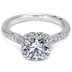 Beautiful Tacori engagement ring with pave set diamonds style # 2620RDP. Available in 18K White Gold, 18K Yellow Gold, 18K Rose Gold and Platinum.