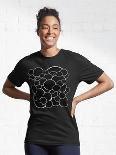 Black circles with white outlines in various sizes making a random but neat pattern. Remember back to your childhood, blowing bubbles in the backyard, barefoot in the grass. Simple and serene. Blowing Bubbles, Outlines, Barefoot, Female Models, Circles, Grass, Childhood, Backyard, Hoodies
