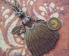 Gothic Necklace Victorian Rabbit Girl Sideshow Carnival Dark Circus Freaks Rustic Brass Steampunk Art Jewelry by CosmicFirefly on etsy.com LOVE ... so Alice In Wonderland