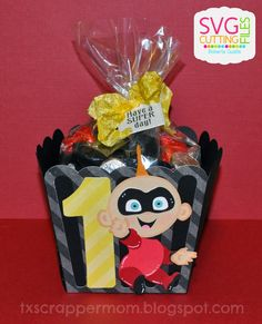 jack jack from the incredibles Baby Boy 1st Birthday, 4th Birthday Parties, 1st Birthdays, Birthday Party Decorations, Birthday Ideas, Incredibles Birthday Party, Rosalie, Party Time, Treat Box