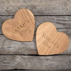 This matching set of heart-shaped wooden coasters read 'Brew' & can be engraved with a name on each. Shop now!