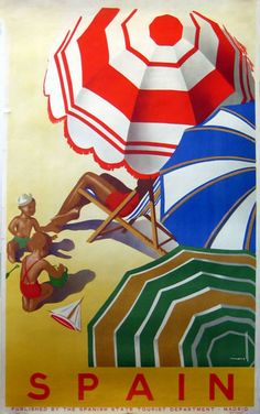Spain Vintage Travel Poster 1950s by Jose Morell