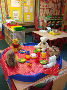 My year 1 classroom. Teddy bears picnic, small world.