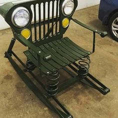 Jeep furniture recycled from Willys Car Part Furniture, Automotive Furniture, Automotive Art, Furniture Plans, Kids Furniture, Garage Furniture, Garage Interior, Furniture Chairs, Outdoor Furniture