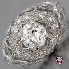 Art Nouveau Engagement Ring - Certified European 0.97ct I/SI Diamond