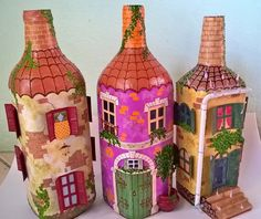 Plastic Bottle Crafts, Plastic Bottles, Bottles And Jars, Glass Bottles, Decorate Bottles, Art N Craft, Recycled Bottles, Fairy Houses, Bottle Art