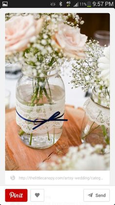 Lace mason jar vases - large quart size - set of rustic wedding decor Wedding Table, Diy Wedding, Wedding Flowers, Dream Wedding, Wedding Ideas, Decor Wedding, Trendy Wedding, Budget Wedding, Unique Weddings