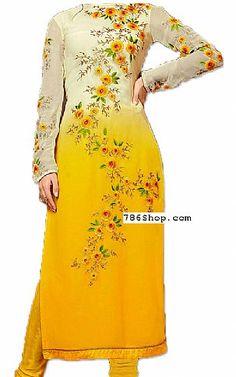 Off-white/Yellow Chiffon Suit. Online Indian and Pakistani dresses, Buy Pakistani shalwar kameez dresses and indian clothing. Pakistani Clothes Online, Pakistani Dresses Online Shopping, Pakistani Outfits, Online Dress Shopping, Indian Outfits, Shalwar Kameez, Kurti, Pakistani Designers, Woman Fashion