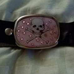 "Black belt 41"" black belt with pink rhinestone skull buckle. Can change out buckle styles. Still in great condition. Hot Topic Other"