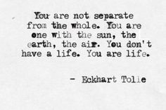 """""""You re not separate from the whole. You are one with the sun, the earth, the air. You don't have a life. You are a life."""" - Eckhart Tolle"""