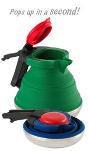 a collapsible kettle! perfect for saving space on camping trips