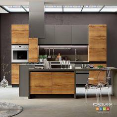 Ματ επιφάνειες σε σκούρους τόνους σε συνδυασμό με ξύλο δρυς στον χώρο της κουζίνας σας αποτελούν επιτομή του #industrialdesign! Αποκτήστε το και εσείς με την σειρά Positano από τον Ιταλικό οίκο Imab φυσικά στη #Porcelana #FeelingHome #interiordesign #design #kitchen #stylish #cooking #myhome