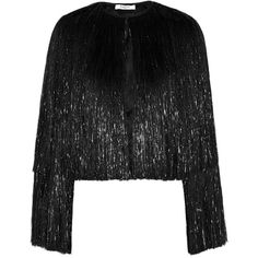 Givenchy Fringed jacket in black silk-satin (29.530 VEF) via Polyvore featuring outerwear, jackets, givenchy, black, tops, givenchy jacket, black fringe jacket, black jacket y fringe jacket