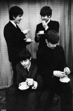 The Beatles taking a tea break!