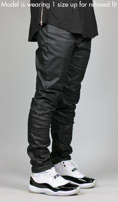 Wax Black Moto Denim Pants