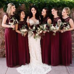 0bb3ff012c1a4 A-Line Round Neck Wine Chiffon Bridesmaid Dresses with Lace, TYP1368 # bridesmaid #