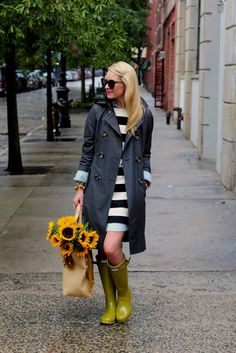 Shop this look for $219: http://lookastic.com/women/looks/charcoal-trenchcoat-and-white-and-black-casual-dress-and-yellow-rain-boots-and-beige-shopper-handbag/1478 — Charcoal Trenchcoat — White and Black Horizontal Striped Casual Dress — Yellow Rain Boots — Beige Leather Shopper Handbag
