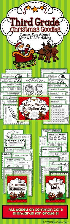 Super fun, Common Core aligned, SEASONAL third grade resources! • Math & ELA • Lots of printables for third grade •