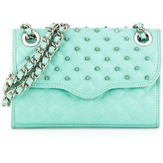 Rebecca Minkoff Quilted Affair Studded Mini Shoulder Bag, Minty found on Polyvore