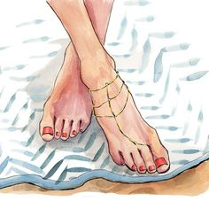 Happy hump day from these feet wearing @gorjana toe-to-anklet chain. Excited to see this sketch appearing on Gorjana packaging in all @nordstroms_stores soon!
