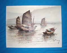CHINESE JUNK BOATS | Wong Chinese Junk Boats Painting 12 x 16 Unframed - Free US S/H