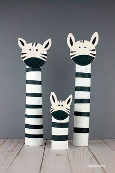 Paper Roll Zebra Craft For Kids - Recycled ZOO Animal Craft - - If you like paper roll ZOO animals, try this easy paper roll zebra craft. It's great for preschoolers, kindergartners and older kids. Zebra Craft, Giraffe Crafts, Ocean Animal Crafts, Bear Crafts, Animal Crafts For Kids, Paper Crafts For Kids, Preschool Crafts, Art For Kids, Craft Kids