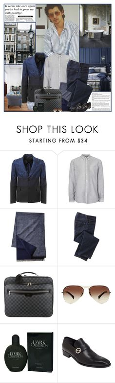 """""""Alex"""" by kittyfantastica ❤ liked on Polyvore featuring AllSaints, Vivienne Westwood Man, Topman, TravelSmith, Louis Vuitton, Ray-Ban, Calvin Klein, Gucci, men's fashion and menswear"""