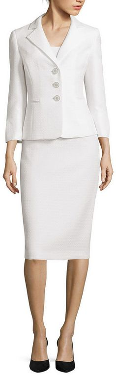 LE SUIT Le Suit Long-Sleeve 3-Button Skirt Suit