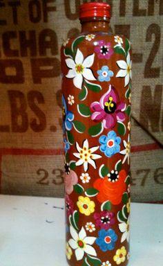 Vintage HandPainted Floral Bottle Vase by bigyellowvintage on Etsy, $26.00