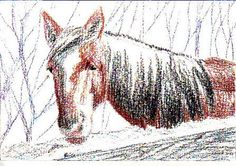 Horse in Winter, dry layer completed, planned for washes.