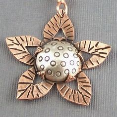 Sterling Silver and Copper Mixed Metal Mod Flower by lpjewelry------nice bezel idea