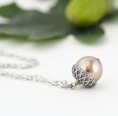Acorn Necklace  Antique Silver and Golden by JacarandaDesigns
