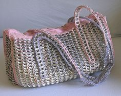 Bag / Purse / pouch made with soda can tabs and crochet purple and pink, upcycled. handmade