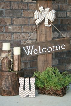 Front porch sign Welcome sign Rustic porch sign by TreeStumpLane, $42.00