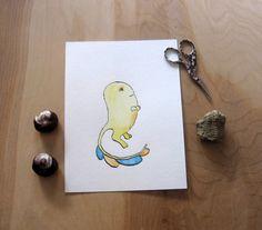 Original Watercolor  Cheerful Goblin 6x8 by PerBelua on Etsy
