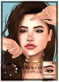 ☞ T a n y a K ✌ — Created By T A N Y A K for The Sims 4 New eyebrows... The Sims 4 Skin, The Sims 4 Pc, Sims 4 Teen, Sims Four, Sims 4 Cas, Sims Cc, Asian Eyebrows, Natural Eyebrows, Makeup Eyebrows