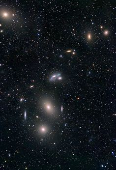 Markarian's Chain: M84, M86, M87 in Virgo byMakis Palaiologou, Stefan Binnewies and Josef Pöpsel  Markarian's Chain is a stretch of galaxies that forms part of the Virgo Cluster. It is called a chain because, when viewed from Earth, the galaxies lie along a smoothly curved line. It was named after the Armenian astrophysicist, B. E.