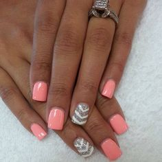 Pink and grey and white chevron accent nail