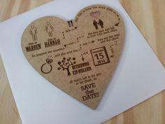 Laser engraved wedding invitations.