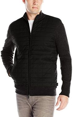 Calvin Klein Men's Cotton Rib and Peached Quilted Full Zip Sweater, Soot Heather, XX-Large ❤ Calvin Klein Men's Collections