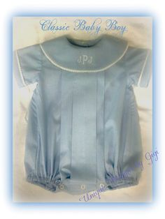 Baby boys Blue Heirloom bubble by UniqueDesignsbyGigi on Etsy, $45.00