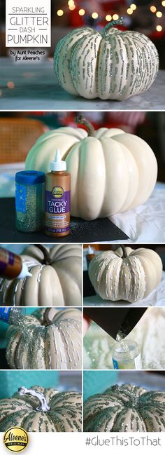 Make this awesome glitter pumpkin with some Aleene's Tacky Glue and glitter.  The perfect sophisticated pumpkin for fall!