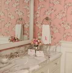 pink and white - little girls bathroom