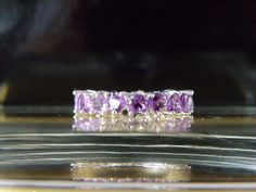 Sterling Silver 925 Natural Amethyst Heart Shape Cut Eternity Band Ring Size 7 #Designer #Eternity #Anniversary