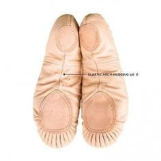 Body Wrappers Sterling Split Sole Leather Pleated Ballet Slipper | ewoomall