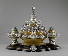 Jewel and gem-set inkstand, 1864. Silver, gilt-bronze, and enamel. Photograph by John Faier for the Richard H. Driehaus Museum.