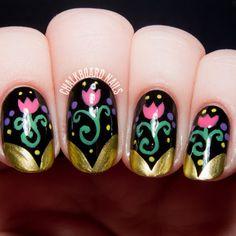 Anna inspired Disney nail art #Frozen