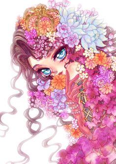 ღ Blue Eyes, Girl, Flowers ~ Artist Yoshiko (Sanpo Hiyori) ღ Originally from http://e-shuushuu.net/image/416407/